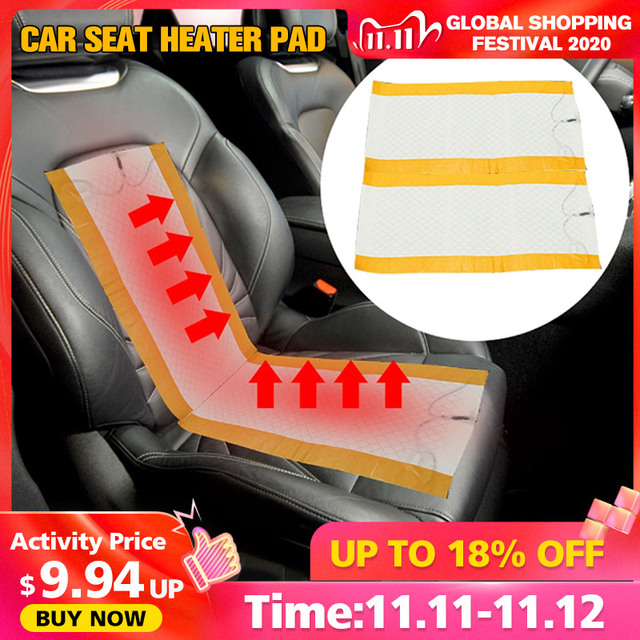 2Pcs 12V Universal Car Heated Seat Covers Pad Carbon Fiber Heated Auto Car Seat Heating Pad Winter Warmer Heater Mat
