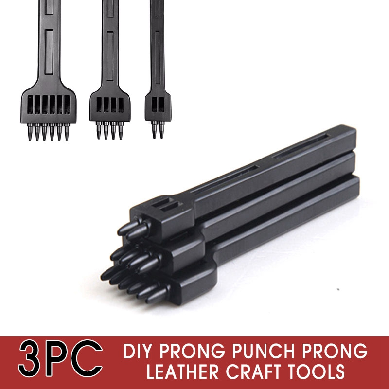 DIY Prong Punch Leather Craft Tools Chisel For Hand Work Leather Craft 3Pcs//Set