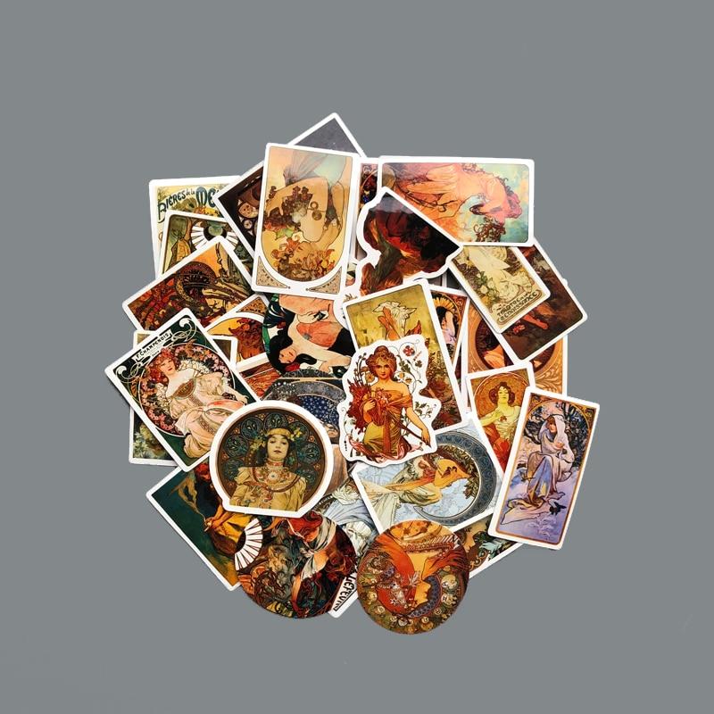 50pcs/Lot Graffiti Retro Mucha Stickers Historical Building Postmark Postage Stickers For DIY Laptop Travel Case 2020