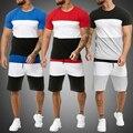 Мужских вещей, Мужская одежда, наряд из 2 вещей набор для бегунов с полосатым принтом, спортивные костюмы повседневные шорты комплект летней...
