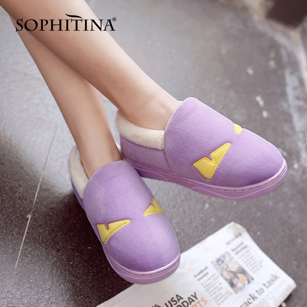 SOPHITINA Fashion High Quality Ladies Shoes Comfortable Warm Flat Shoes Home Casual Shoes SO318