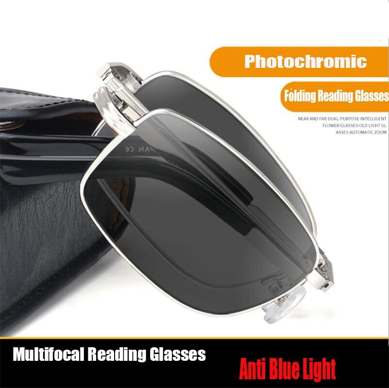 Открытый фотохромные очки для чтения Для мужчин Прогрессивные нескольких фокусным расстоянием полный кадр металлические складные пресбио...