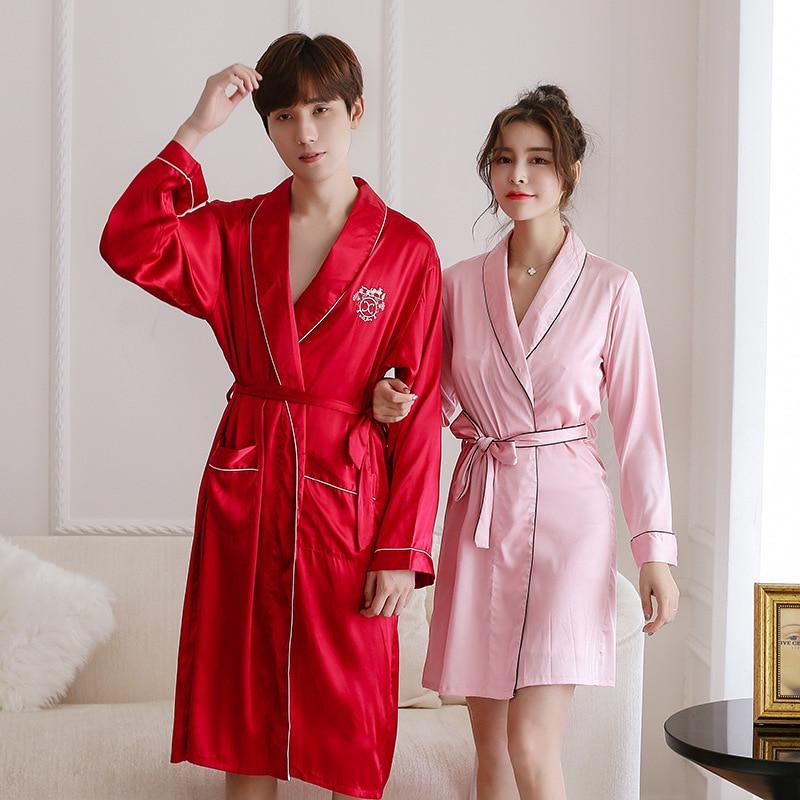 Couple Satin Bathrobe Silk Kimono Couple Summer Pajamas Men Silk Robe Gown Suits Set Long Sleeve Shorts Robe