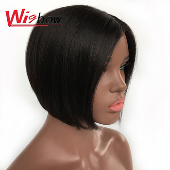 Lace Part Wig Short Straight Lace Front Human Hair Wigs For Black Women Brazilian Hair 100% Human Remy Hair 150% Density Wigbow