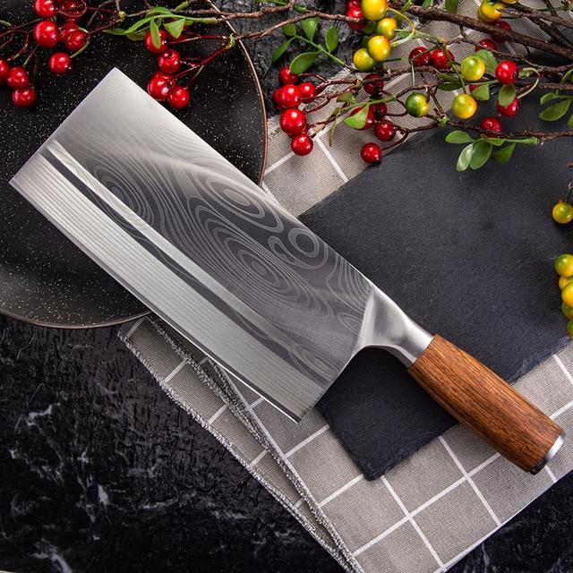 Shuoji中国スライスナイフスーパーシャープ刃野菜肉魚ナイフ 4Cr14 高硬度キッチン調理ナイフ包丁