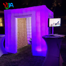 led strip on whole booth white color inflatable photobooth with 2 doors