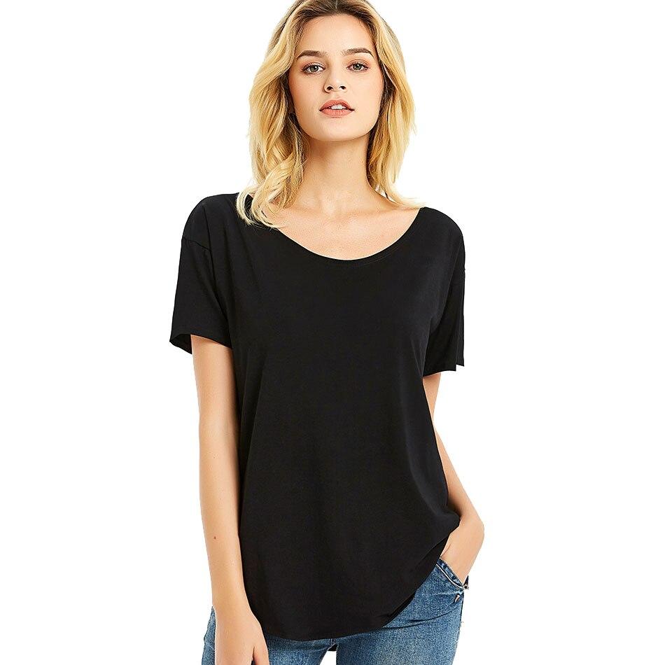 Femmes Vee cou t-shirts dames haut uni t-shirt à manches courtes solide basique coton ample décontracté