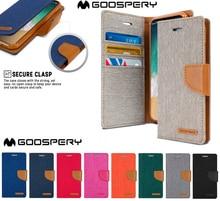 オリジナルmercury goosperyキャンバス日記財布フリップカバー三星銀河注 20 超注 10 プラス