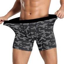 Men Underwear Long-Shorts Open-Crotch Male Panties Fahion Boxers Convex-Pouch High-Quality