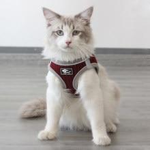 Reflexivo pet cat colete arnês e trela conjunto favo de mel respirável filhote de cachorro gato arreios katten gota maschas acessórios para gatos