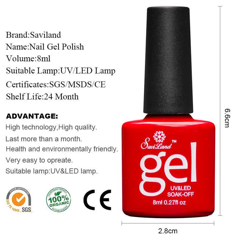 Saviland 8ml gradiente rojo Nude Series colores uñas Gel polaco Semi Permanentes vino rojo UV laca de uñas Gel para remojo