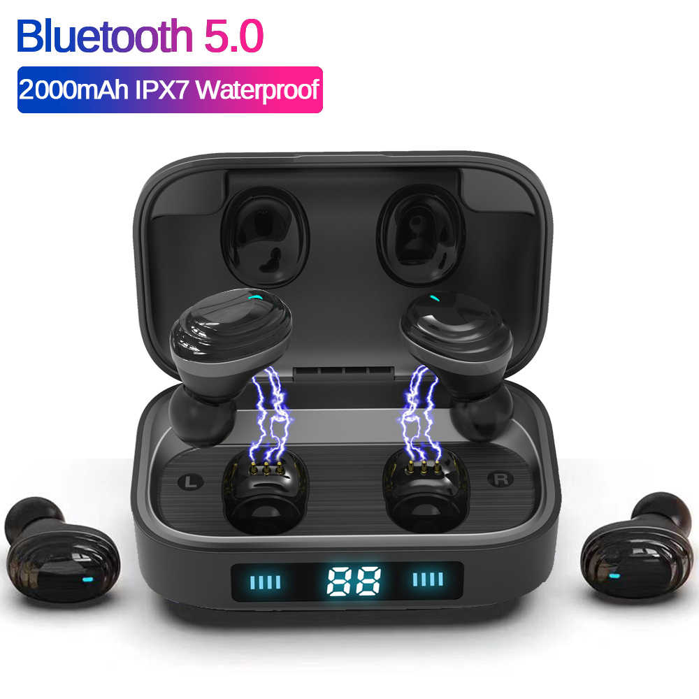 H01TWS Bluetooth Earphones Bluetooth 5.0 Earcups 9D Stereo Music Headset Touch Control LED Display 2000mAh Power Bank