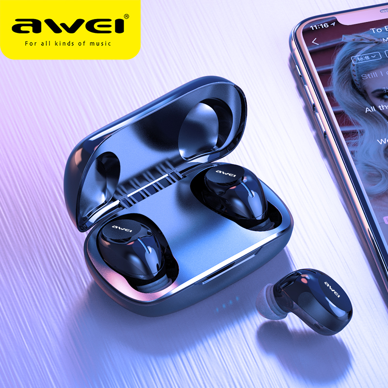 AWEI Budget TWS In Ear Mini Earbuds Gaming Bluetooth 5.0 Quality Sound Hifi Earphones With Mic Touch Contorl Wireless Headset image