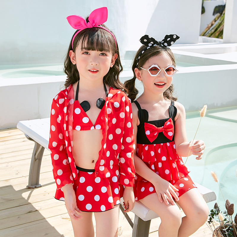 2019 New Style Hot Sales KID'S Swimwear Dots Large Bow Three-piece Set Mickey Dress-GIRL'S Swimsuit