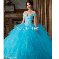 Blue 2019 Quinceanera Dresses Ball Gown Off The Shoulder Organza Lace Ruffles Beaded Crystals Cheap Sweet 16 Dresses