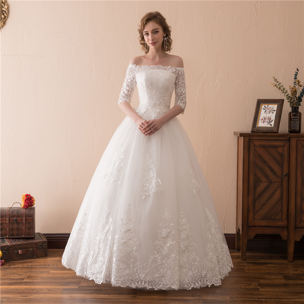 H&S BRIDAL Wedding Dresses With Veil Lace Appliques Half Sleeves Off Shoulder Bridal Dresses Lace Up Robe Mariee Grande Taille
