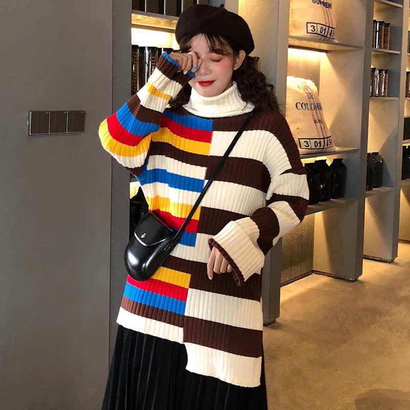 Focal20 Streetwear Rainbow Stripe Women Sweater Turtleneck Patchwork Female Jumpers Pullovers Casual Autumn Lady Sweaters Tops 1