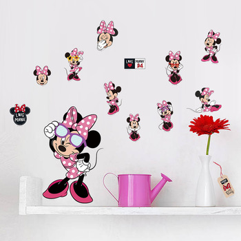 Cartoon Cute Mickey Minnie Mouse ściana z balonami naklejki kalkomanie lub pokój dziecięcy dekoracja ścienna do sypialni Park plakat przedszkole rozrywki tanie i dobre opinie Disney CN (pochodzenie) Zwierzę kreskówkowe