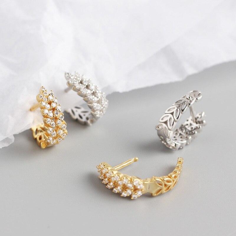 ANENJERY 925 en argent Sterling feuilles boucles d'oreilles pour les femmes français exquis élégant oreille bijoux S-E1377 6