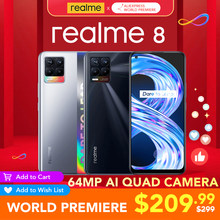 Realme 8 6GB RAM 128GB ROM küresel sürüm 30W şarj Helio G95 6.4