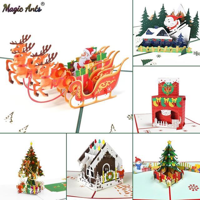 Chúc Giáng Sinh Thẻ Cây Giáng Sinh Mùa Đông Tặng Bật Thẻ Giáng Sinh Trang Trí Dán Cắt Laser Năm Mới Thiệp
