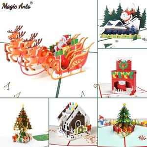 Merry Christmas Cards Christmas Tree Winter Gift Pop-Up Cards Christmas Decoration Stickers Laser Cut New Year Greeting Cards