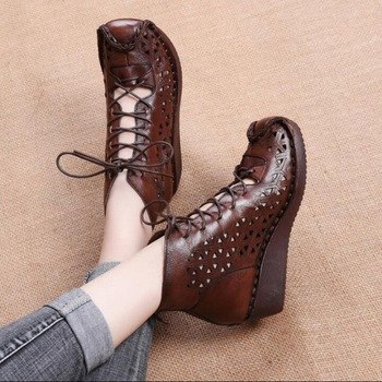 Genuine Leather Women's Spring Boots Female Ankle Boots Ladies Casual Shoes Retro Hollow Out Breathable Cool Boots Summer Women