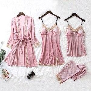 Image 2 - Conjunto de Pijama de terciopelo caliente JULYS SONG de 4 piezas, ropa de dormir Sexy de encaje para mujer, pijama, traje de noche de invierno con tirantes, ropa de dormir para mujer