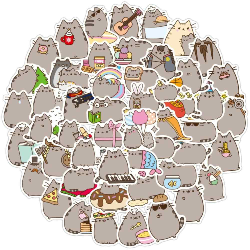100 Buah/Pack Kawaii Kucing Chunky Harian Tahan Air Dekoratif Alat Tulis Kerajinan Stiker Scrapbooking DIY Diary Album