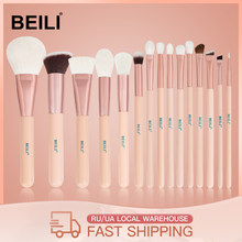 BEILI 15Pcs Pinceles de maquillaje de oro rosa rosada Cabra natural Pony Hair Foundation rubor de ojos Blending Contour Powder Professional set(China)