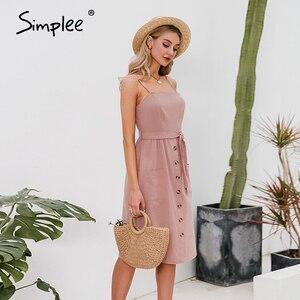 Image 3 - Simplee מקרית ספגטי רצועת קיץ שמלת שיק מוצק כפתורי חגורת נקבה כותנה שמלת חג חוף גבירותיי כיסים מקסי שמלה