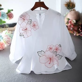 Tunic White Shirt Women Flower Embroidery Blouse V neck  Office Ladies Tops Casual High quality Summer Puff sleeve