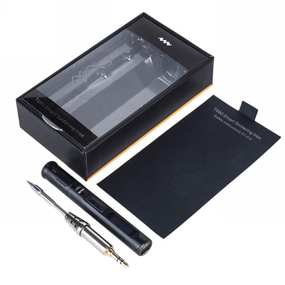 TS80 Mini Portable Digital Electric Soldering Iron Adjustable Temperature Type C TS-B02 D25 Solder Tip QC3.0 Quick Charger Kit