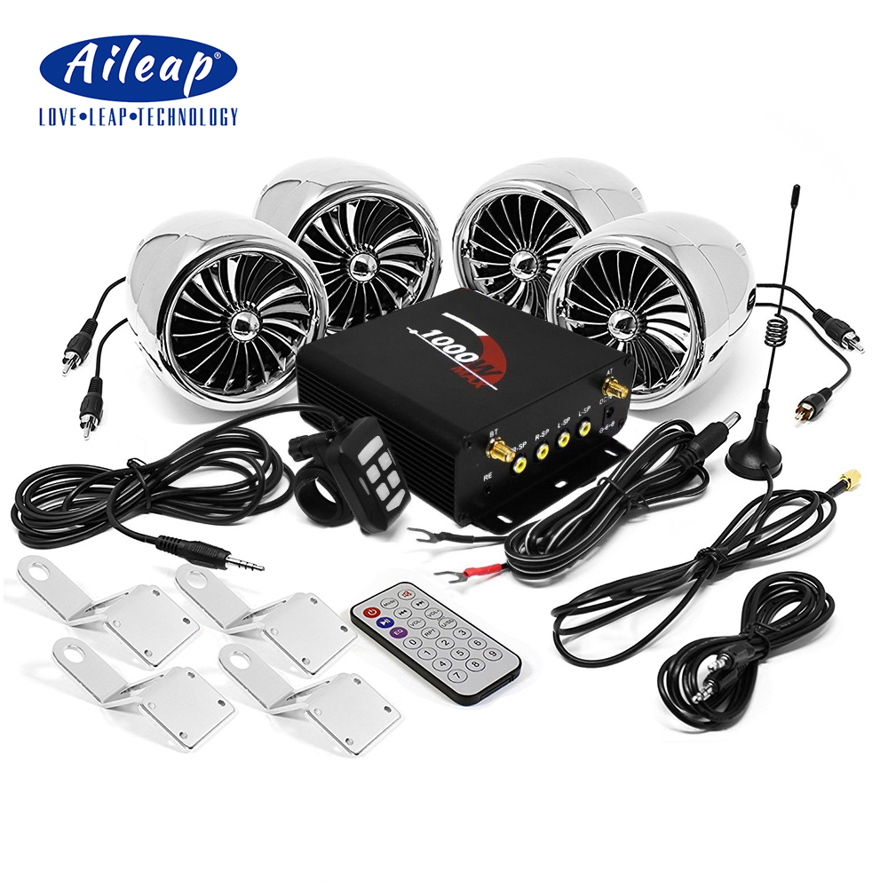 Aijump 1000W amplificateur Bluetooth moto stéréo 4 haut-parleurs MP3 Audio FM système de Radio pour HARLEY/SUZUKI/HONDA/ATV/UTV (Chrome)