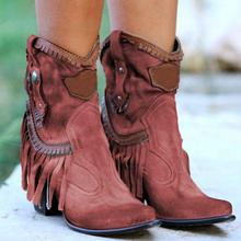 New Autumn Tassel Ankle Boots For Women Flock Pointed Toe Short Boots Square High Heel Boots Shoes Woman Fashion Bota Feminina