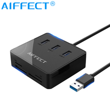 цена на AIFFECT Multi Function Card Reader with 3 Port USB Splitter 3.0 HUB Support TF SD M2 MS Converter Micro USB Power for Laptop