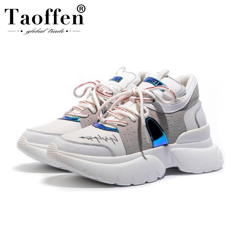 Taoffen 2020 Ins Hot Sale Fashion Woman Sneakers Thick Bottom Real Leather Stylish Autumn Shoes Cross Strap Footwear Size 35-42
