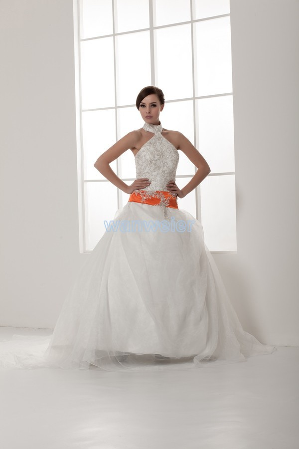 Free Shipping 2014 New Design Appliques Hot Sale Good Quality Custom Size/color Halter Small Train Ball Gown Wedding Dress Brand