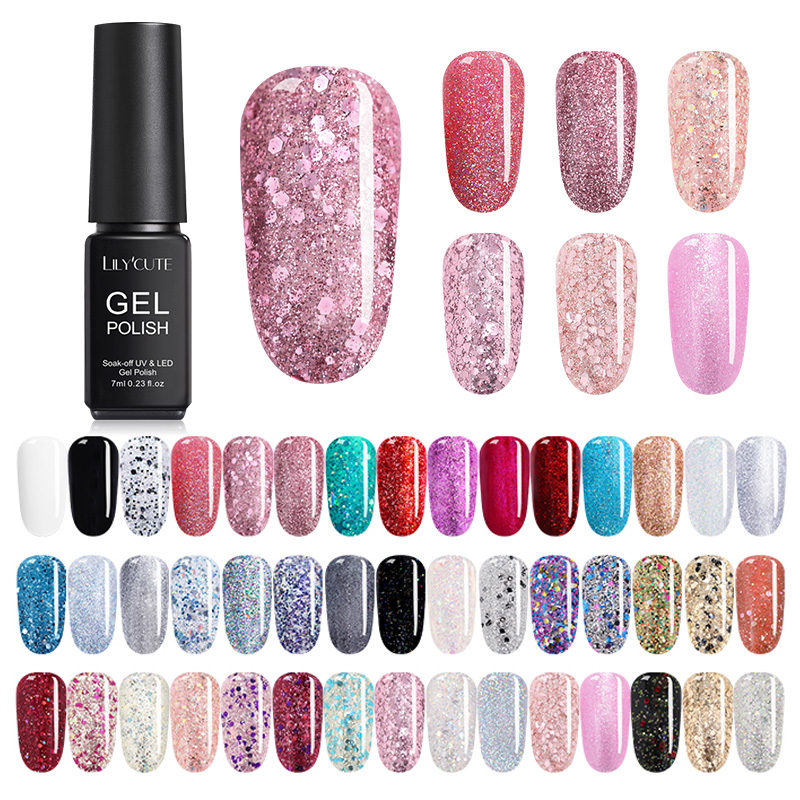 LILYCUTE 7ml UV Gel Nail Polish  Glitter Pink Color Series Soak Off Nail Art Gel Polish Varnish  Design