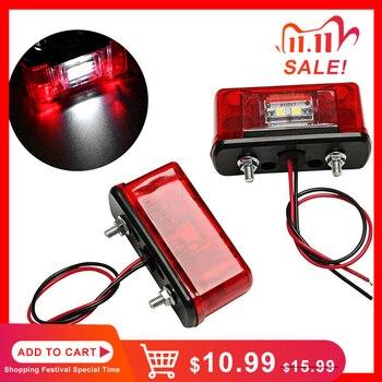 2PCS Waterproof LED Car Number Plate Light 12V 24V License Plate Light Lamp for Car Truck Lorry Trailer Tail Light Red White