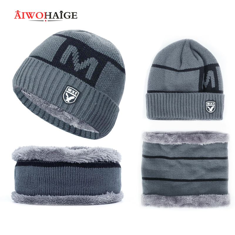 Men's Winter Hat Men's Hat Beanie Winter Cap High Quality Two Piece Fluffy Hat Free Shipping Dropshiping 2019 New 2-piece Set