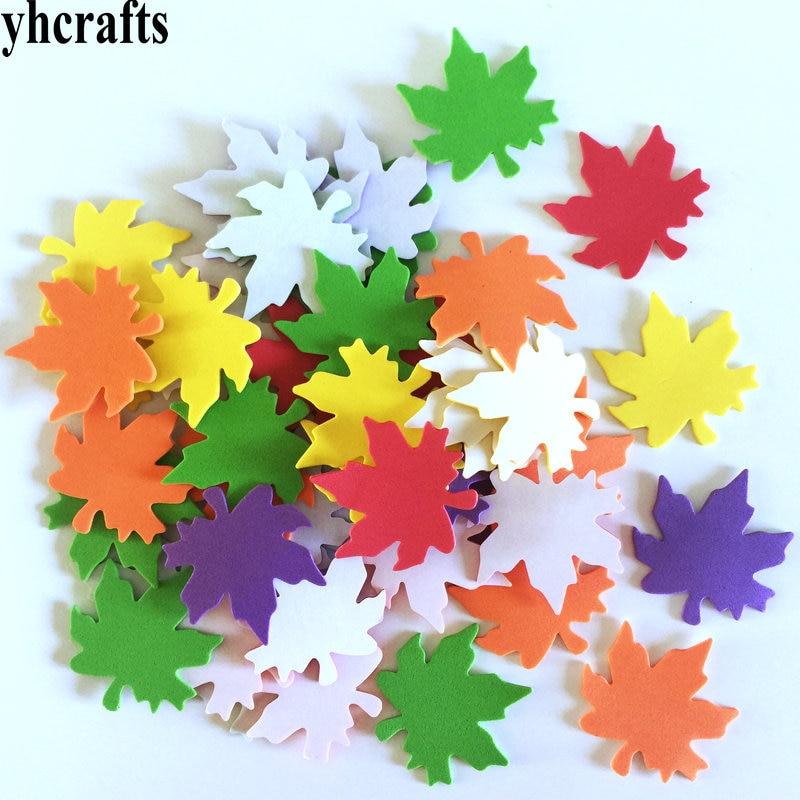 1 пакет/Партия. Осенняя уборочная белка, птица, лиса, ежик, Сова, поролоновые наклейки, Осенний лист, ремесла, элементы деятельности, украшение детской комнаты, OEM - Цвет: 50PCS maple