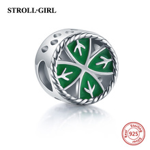 StrollGirl Authentic 925 sterling silver Four-leaf Clover Beads Fit Pandora Charm Bracelet for Women Sterling Silver Jewelry zoziri 100% 925 sterling silver 3 clover leaf bracelet luxury brand imitation jewelry for women girls zircon flower bracelet