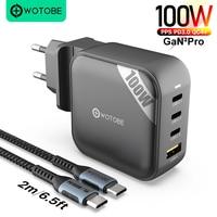 WOTOBE 100W 4-Port GaN 2 Pro USB C Power Adapter PD100W/87W/65W/45W/25W/20W Schnelle Ladegerät für Samsung Macbook Pro iPhone xiaomi