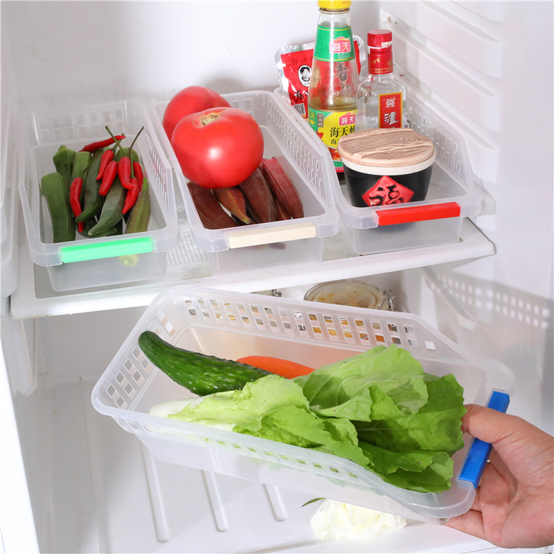 Japanese Style Refrigerator Plastic Storage Basket Food Beverage Drawer-type Storage Box Kitchen Debris Finishing Box Storage Ba