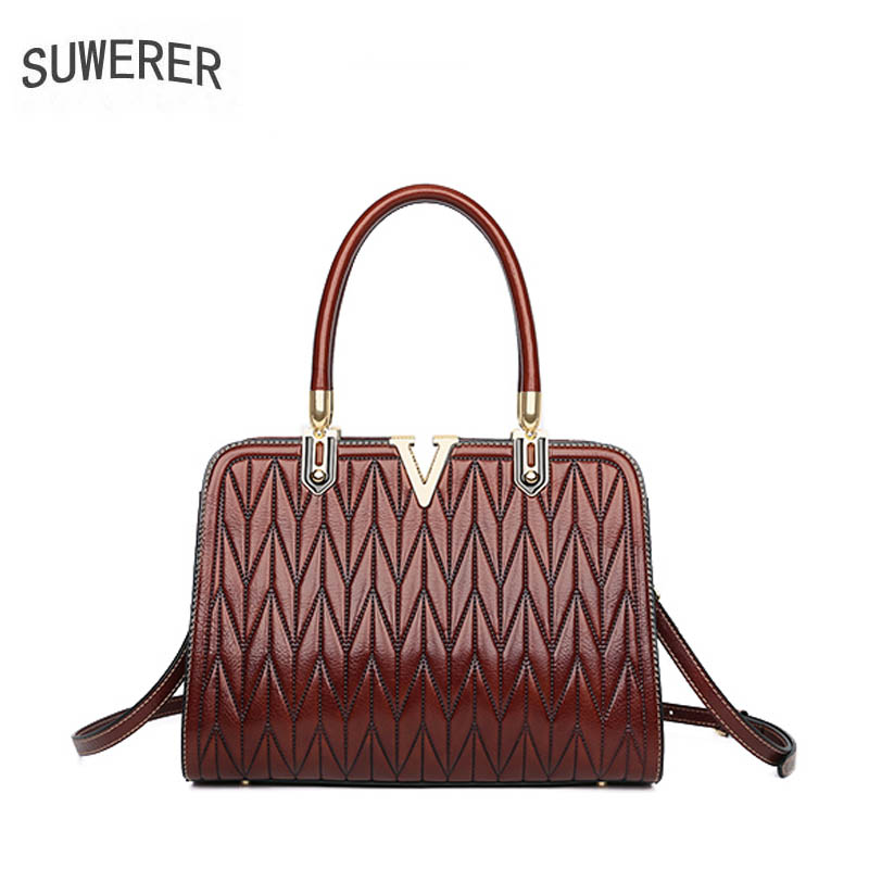 SUWERER designer bags famous brand women bags 2019 new luxury handbags women Genuine Leather bags quality cowhide tote bag