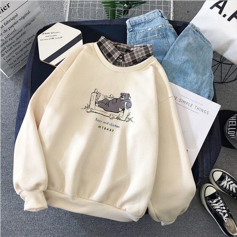 Zuolunouba Casual Women Hoody Sweatshirt Printing Harajuku Bear And Chicken Long Sleeve Fake Two Pieces Fleece Female Pullover