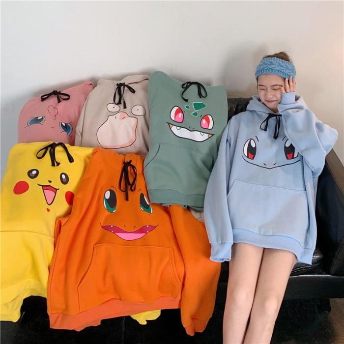 Autumn Pokemon Hoodie Women Harajuku Style Hoodie Long Sleeve Oversize Free Shipping Mid Length Pocket Hooded Cute