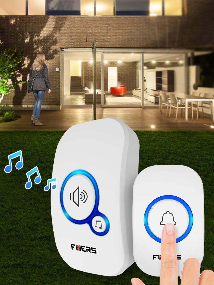 Fuers Welcome Bell Doorbell-Ring Button Chime Waterproof Home Wireless 32-Songs Eu-Plug