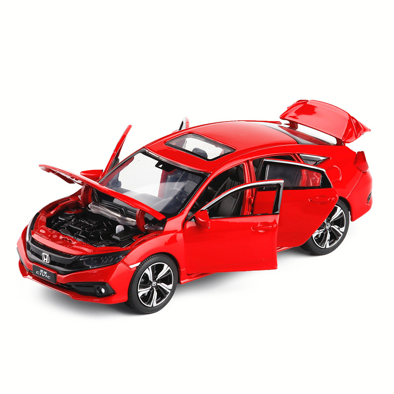 1:32 Diecast <font><b>Model</b></font> <font><b>Car</b></font> Toy Metal <font><b>Wheels</b></font> Honda Civic High Simulation Sound And Light Door Kids Toy Boys <font><b>Cars</b></font> Set collection Gift image